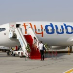 A Flydubai plane is pictured at the Dubai Airshow in this November 8, 2015