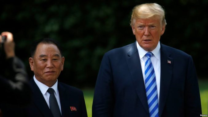 North Korea's envoy Kim Yong Chol is pictured with U.S. President Donald Trump as he departs after a meeting at the White House in Washington, June 1, 2018.