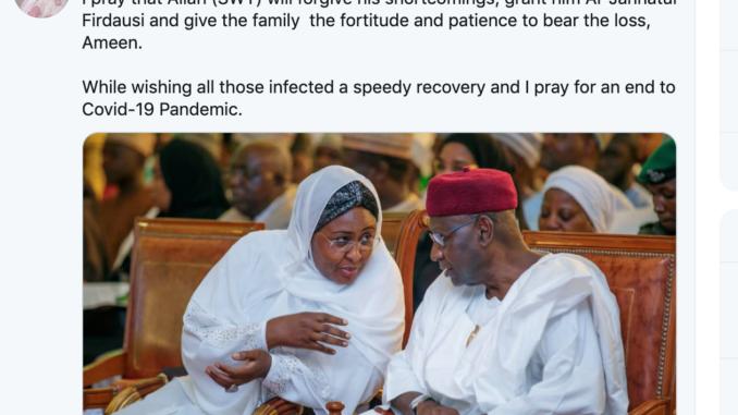Aisha Buhari tweets Condolence Message to Family of Abba Kyari